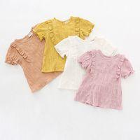 ingrosso pantaloni di lino per i bambini-1-6T Bambini Vestiti per bambina Abiti estivi in cotone e lino Maglietta a maniche corte con volant Maglietta Carino Dolce Vestiti adorabili di marca morbidi
