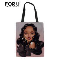 schwarze leinenspitzen großhandel-FORUDESIGNS Damen Faltbare Einkaufstaschen für Frauen Eco Shopper Bag Frauen Black Art African Girls Linen Bookbag Top-Handle Bag