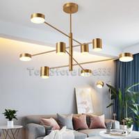 sala de estar art deco da forma moderna venda por atacado-Designer de moda moderna Preto Branco Ouro Levou Art Deco Lustre Suspenso Lâmpada Luz para Cozinha Sala de estar Loft Quarto