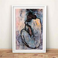 nackt leinwanddrucke groihandel-Pablo Picasso Blue Nude 1902 HD Leinwand Poster Drucke Wandkunst Malerei Dekorative Bild Moderne Dekoration Zubehör