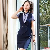 ropa de dama azul al por mayor-Conjunto formal de chaleco y falda de mujer con chaleco para mujer y trajes de trabajo para mujer Ropa de trabajo Ropa azul marino