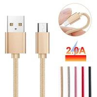 apfel usb c großhandel-1 Mt / 2 Mt / 3 Mt Micro-USB-Kabel 2A Dauerhaft Schnellladung Typ C Geflochtene Nylon Schnelle USB-Kabel für Samsung Android Huawei IPX ios