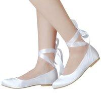 ingrosso scarpa di raso piatto bianco-Semplice scarpe da donna con plateau in raso di seta bianca, scarpe da sposa, scarpe da banchetto, scarpe da donna