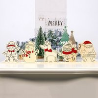 Wholesale color diy painting resale online - 1 Set Christmas Decoration DIY Christmas Wooden Hand painted Ornaments Children s Color Painting Board With Paint