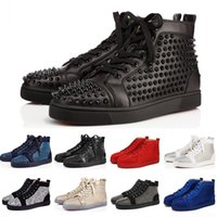 besetzte sneakers groihandel-Christian Louboutin Red Bottoms sneakers  Modedesigner Marke Studded Spikes Flats Schuhe Rote Untere Freizeitschuhe Männer und Frauen Party Liebhaber Echtes Leder Sneakers