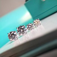 büyük moda saplama küpeler toptan satış-Lüks kalite Ünlü Marka S925 Gümüş Saplama küpe ile küçük ve büyük elmas yuvarlak şekil Moda marka Küpe mücevher kadınlar için düğün