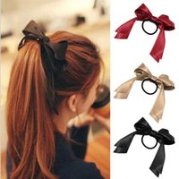 Wholesale satin ribbon hair bands resale online - 1pc Women Tiara Satin Bow Tie Scrunch Hair Band Ribbon Scrunchie Ponytail Holder Rope Rings Hair Accessories for Girl