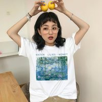 Wholesale water lily paintings resale online - Water Lilies Print Women tops Summer Fashion New Fashion S XL Letter Cartoon Oil Paint Harajuku O Neck T Shirt