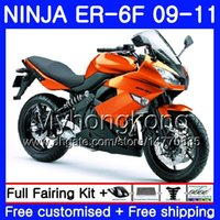 ingrosso kit per la pesca per kawasaki-Corpo per KAWASAKI NINJA 650R ER-6F ninja650 ER6F 09 10 11 252HM.7 Ninja650R ER6 F ER 6F Arancio chiaro nuovo 2009 2010 2011 Kit carene + 7Gifts