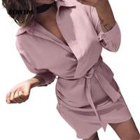 ofis gömlek yaka kadınlar toptan satış-ELSVIOS 2019 Kadınlar Yaz Gömlek Elbise Casual katı Uzun Kollu Turn-Aşağı Yaka Yüksek Sokak Elbise Blet Zarif Ofis Elbiseler