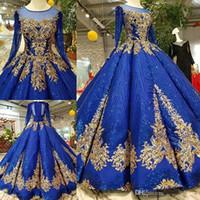 simples vestidos de fiesta azules al por mayor-Royal Blue Gold Lace Appliqued Manga larga Una línea Vestidos de novia Vestido de gala de lujo árabe Dubai Shinny con lentejuelas vestido de novia por encargo