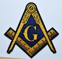 ingrosso patch di ferro di emblema-MASONIC RICAMO in ferro su PATCH ~ FREEMASON COMPASS COMPASS MASON EMBLEM ~ (La dimensione è di circa 8,5 cm * 7,5 cm)