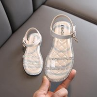 Wholesale green kids party shoes resale online - 2020 Summer Kids Sandals For Girls Princess Shoes Children Beach Little Girls Open Toe Flat Casual Sandals Fashion Party