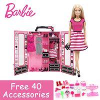 ingrosso barbie girl dresses-Barbie Autorizza le bambole Fashion Brand Dream Wardrobe e Dress Cloth Toy For Little Girl Regalo di compleanno Barbie Boneca DKY31