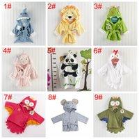 Wholesale bath robes resale online - Cute Boys Girls Animal Ears Bathrobe Hooded Bath Robes Towels Infant Baby Long Sleeve Hoodies Belt Bathing Robes Sleepwear DH1162 T03