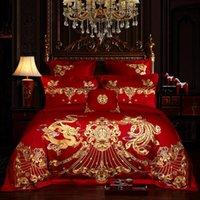 ingrosso lenzuola di lusso cinesi-New Luxury Rosso 100% cotone di Phoenix dell'oro Loong ricamo Wedding Bedding Set Copripiumino cinese lenzuolo copriletto Federe