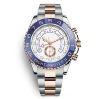 Wholesale big rose watches resale online - Luxury WristWatches mm Yacht Two Tone Rose Gold Stainless Steel Men s Automatic Mechanical Watches Big Dial Chronograph Full Function