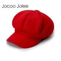 şık yün başlıkları toptan satış-Jocoo Jolee'nin Yün Kadınlar Bereliler Sonbahar Kış Sekizgen Cap Şapka Şık Sanatçı Ressam Newsboy Siyah Gri Bere Şapka 2019 Caps
