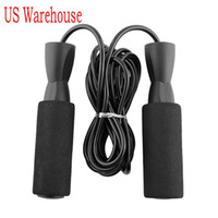Wholesale jumping ropes resale online - US Shipping Aerobic Exercise Boxing Skipping Jump Rope Adjustable Bearing Speed Fitness Black Unisex Women Men Jumprope FY6160