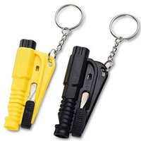 Wholesale green seat belts resale online - Mini Safety Hammer Car Life Saving Escape Hammer Emergency Rescue Tool with Keychain Whistle Seat Belt Knife Cutter