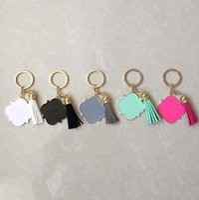 Wholesale mother key for sale - Group buy quatrefoil tassel keychain Key Chain with Tassel Enamel mother gift Blanks Keychain Personalized Keychain Enamel Key Ring