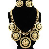pendientes del club nocturno al por mayor-Big Hip-hop Gold Lion Collar Pendiente Set Night Club Fashion Exagerado Aleación Lion Head Colgante Collar Traje con pendientes femeninos