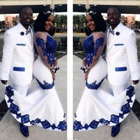 Wholesale red long short prom dress resale online - 2020 New White Satin Royal Blue Lace Aso Ebi African Prom Dresses Long Illusion Sleeves Applique Evening Formal Gowns Pageant Celebrity Dres