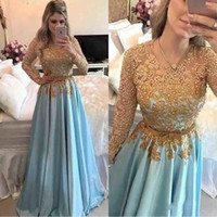 Wholesale images silver lace beaded tops for sale - Group buy Gold Lace Top Sheer Long Sleeve Lace Prom Dresses Applique Beaded Top Sash Backless Long Evening Gowns