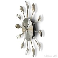 Wholesale kitchen clocks spoons for sale - Group buy Round Wall Clock Solid Metal Silver Useful Knife Fork Spoon Shape Clocks Modern Kitchen Restaurant Decor Horloge hr ii