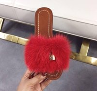 Wholesale rose slippers for sale - Group buy new fashion show new style Real fur ladies slippers for spring and summer nobleness elegance Brand choice Rose white pink and sky blue