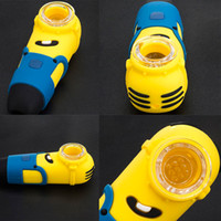Wholesale pipes pieces for sale - Group buy Minions Silicone Water Pipe Bong Portable Smoke Pipe With Glass Bowl Oil Burner Pipe MOQ Piece