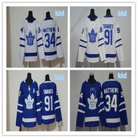 buz hokeyi formalarını gençler toptan satış-Kid 2018-19 Toronto Maple Leafs Mitchell Marner Auston Matthews John Tavares Dikişli NameNumber Gençlik Buz Hokeyi Formalar