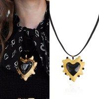 siyah elmas kolye kadın toptan satış-Siyah aşk kalp kolye kolye kadın diamonds kolye Siyah halat zincir kolye kız basit kazak zincirleri takı ücretsiz shippping