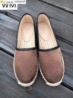yarım kaftan elbisesi toptan satış-Liujingang9 Yeni Yuvarlak Kafa Bayanlar Yarım balıkçı Ayakkabı El Dokuma Bez Ayakkabı Elbise Ayakkabı Skate Dans Balerin Flats Loafers Espadrilles