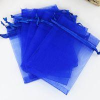 ingrosso regali blu regali borse-11x16 cm 100 pz / lotto Royal Blue Borse Con Coulisse Regali Organza Sacchetti di Imballaggio Sacchetti per Gioielli Snack Cosmetici Confezioni Borse