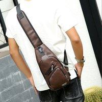 hombres bolsa pecho pequeño al por mayor-2019 Hombres Vintage Pu cuero bolsa de viaje de ocio solo hombro Messenger Bag hombre marca pequeña bolsa de hombro masculino pecho bolsas de espalda