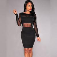 içi boş bandaj patchwork elbisesi toptan satış-Kadınlar Seksi Elbise Bandaj Yeni Siyah Uzun Kollu Örgü Patchwork Bodycon Kadınlar Elbise Ücretsiz nakliye Oymak