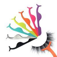 Wholesale clip false eyelashes for sale - Group buy False Eyelash Tweezers Fake Eye Lash Applicator Eyelash Extension Curler Nipper Auxiliary Clip Clamp Makeup Forceps Tools RRA1342