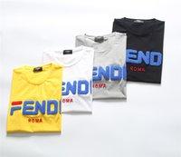bordado de impressão de camisa venda por atacado-FENDI 2019 Verão Nova Chegada de Alta Qualidade Designer de Roupas Masculinas T-shirt FF Bordado Imprimir Tees Tamanho M-3XL 8001