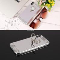 miroir strass pour les téléphones achat en gros de-Rhinestone de galvanoplastie miroir arrière mince couverture de cas de téléphone portable mobile avec support anneau pour iPhone 6 / 6s / 6P / 7 / 7s / 7P / X