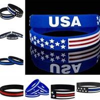 esnek bilezikler toptan satış-13 stilleri 500pc / Çok İnce Blue Line Amerikan Bayrağı Bilezikler Silikon Bileklik Yumuşak Ve Esnek Büyük İçin Normal Günü Partisi hediyeler C0162