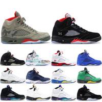 4fb6e60da78c 2019 Mens 5 5s Basketball Shoes Camo Seme Black Olympic Gold Blue Suede Pro  Stars Sport Shoes Designer Sneakers Trainers 7-13