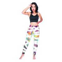 leggings menina graffiti venda por atacado-Lady Leggings Tintura Graffiti 3D Digital Completa Impresso Calças Lápis Confortáveis Meninas Comprimento Total Jeggings Mulheres Treino Calças Esportivas (Y54586)