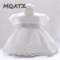 habillement achat en gros de-Manches courtes Toddler Little Girls Dress Kids baptême anniversaire concours de robes décontractées modèle de robe de bal montre enfant en bas âge