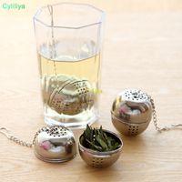 infusor colador bola de té al por mayor-Acero inoxidable de Infuser del té en forma de bola del filtro de malla del tamiz del té Cuchara té de bloqueo de la bola de la especia