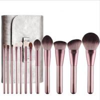 Wholesale wooden handle hair brush sets resale online - Champagne wool Makeup Brush Set Foundation Blush Eyeshadow Concealer Make Up Wooden Handle Brushes for Powder Lip Eye Cosmetics Tools