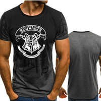 ingrosso maglietta felpata-Harry Potter HOGWARTS Tinta unita T Shirt Uomo compressione veloce O-Collo traspirante manica corta Fitness t-shirt Palestre Tee Tee top