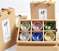 ingrosso regalo della tazza della porcellana-6pcs / set Migliore ghiaccio colorato incrinato smalto ceramico Cina Kongfu Tea Cup 3D Carp Teaset teiera della porcellana Drinkware Creatives la casa Articoli da regalo