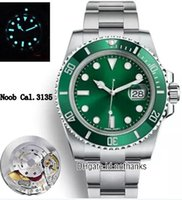 зеленая рамка автоматическая оптовых-, 2018 Top NV9 Best Edition Swiss Cal.3135 ETA 3135 Автоматическое движение Зеленая керамика Безель Зеленый циферблат Мужские часы Синий светящийся