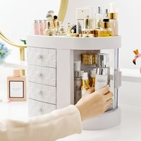 Wholesale makeup organizers drawers resale online - New Dressing Table Drawer Makeup Holder Storage Box Transparent Rotation Window Lipstick Organizer For Cosmetic Brush Jewelry